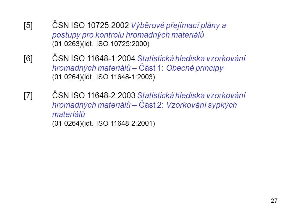 [5]. ČSN ISO 10725:2002 Výběrové přejímací plány a